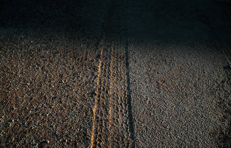 Mark Klett, Tire track on virgin desert, 2013