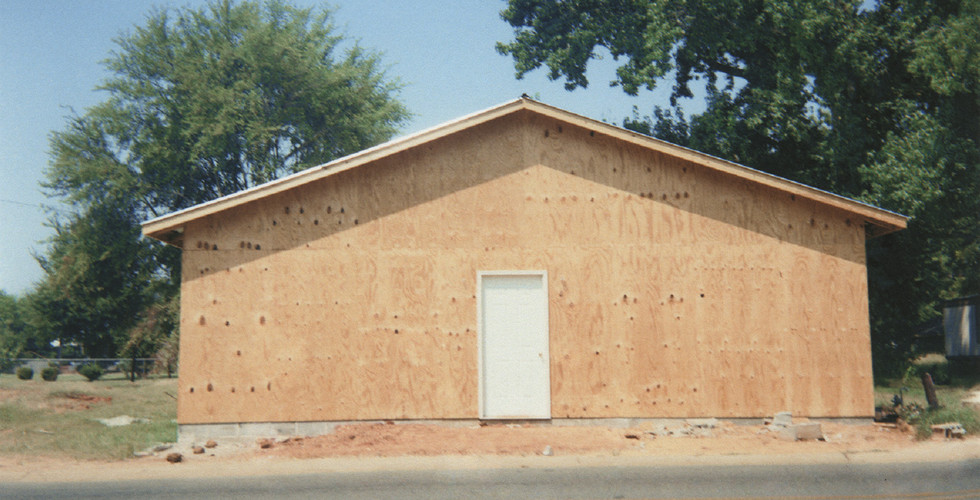 """William Christenberry, Building that Replaces """"The Underground Club,"""" Greensboro, Alabama (will become Barry's Place), 1999"""
