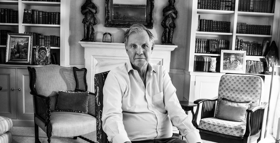 David Goldblatt, Jonathan Aitken in his Earls Court home, which he almost lost to bankruptcy after going to jail for perjury. London, 8 May 2015