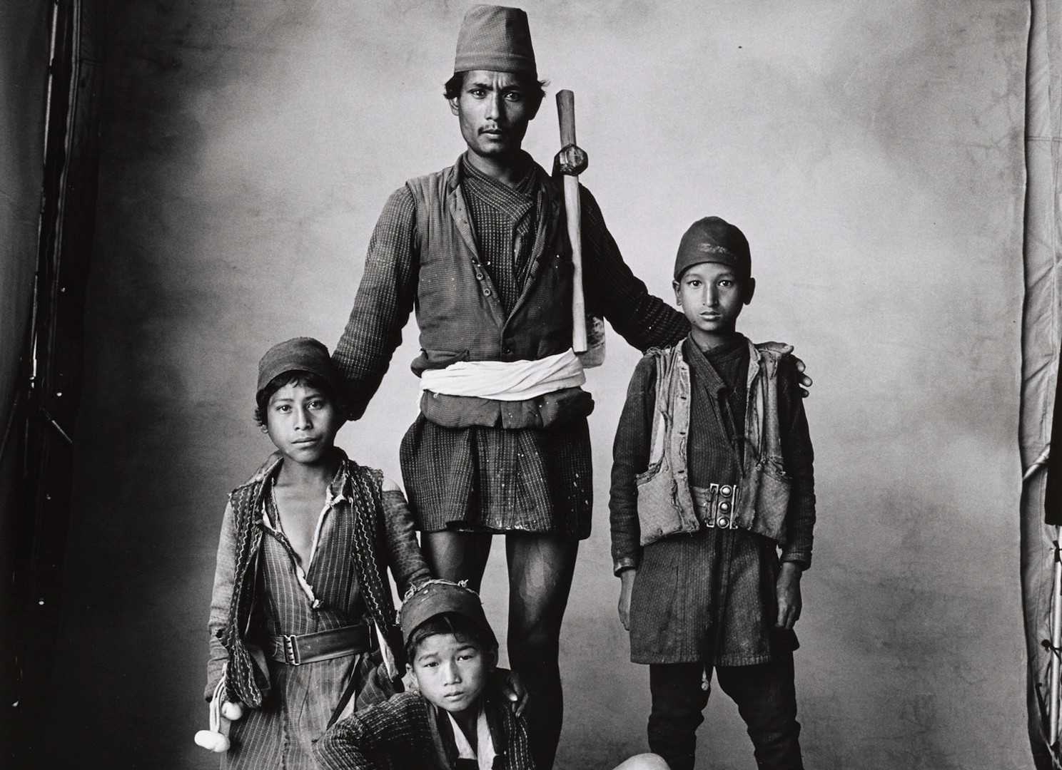 Irving Penn, Father and Three Boys, Nepal, 1967
