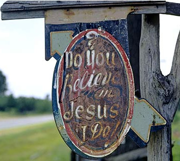 """William Christenberry, """"Do You Believe in Jesus, I Do,"""" Stephen Syke's Place, near Aberdeen, Mississippi, 1966"""