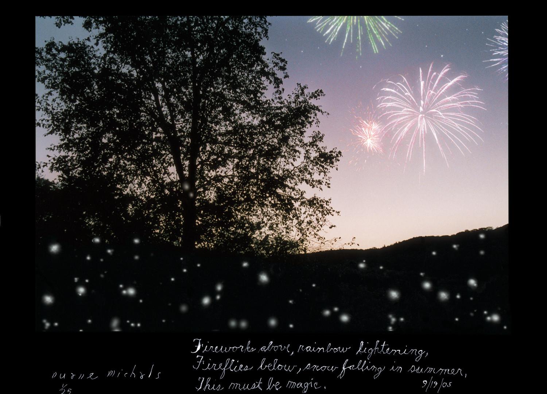 Duane Michals, Fireworks above, rainbow lightening, 9/19/05