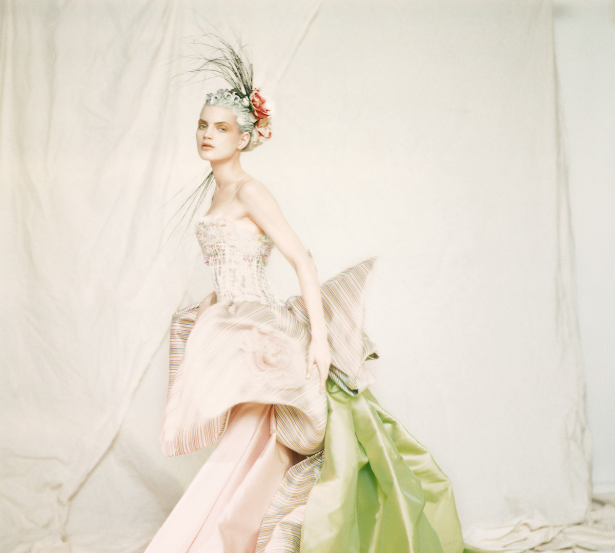 Paolo Roversi, Guinevere in a Nina Ricci Haute Couture dress, Paris, 1996