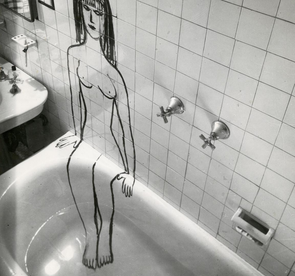 Saul Steinberg, Woman in Tub, 1949