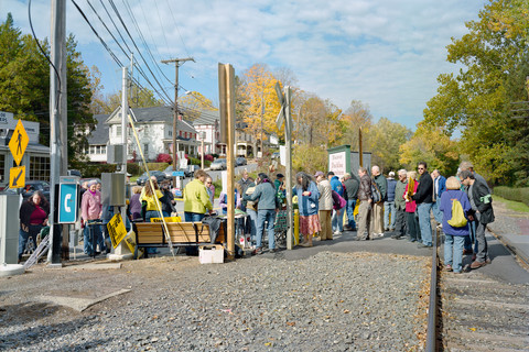 Judith Joy Ross, End of rally against the construction of Coal by Wire power lines through the Delaware Water Gap National Recreation Area, Portland, Pennsylvania, October 21, 2011
