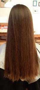 Vorher Bild von langen Haar