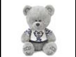 Медвежонок Ники в футболке с синим орнаментом муз.(21,5см)
