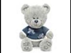 Медвежонок Ники в синей кофточке с бантиками  муз.(21,5см)