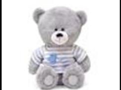 Медвежонок в кофточке в серую полоску муз.(21см)