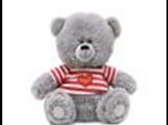 Медвежонок в футболке в полосочку муз.(21см)