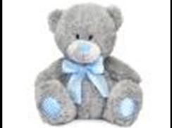 Медведь с голубым бантом малый муз.(16.5см)