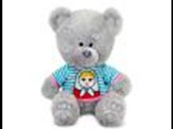 Медвежонок Ники в футболке с матрёшкой муз.(21,5см)