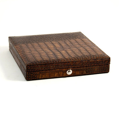 "BB- C408 Brown ""Croco"" Leather 12 Cigar Humidor"
