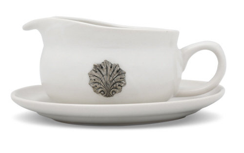VH-O361S-CQ-W White Coquille Gravy Boat