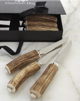 VH-A2 Natural Antler Handle Steak Knives Set (6)