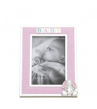 "RB - 2746 Gingham Bunny 4 x 6"" Silverplate Frame"