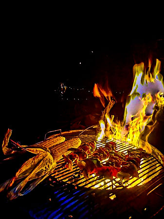 campfire cooking vegetarian skewers