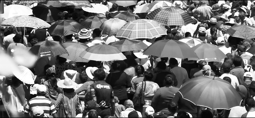 A crowd scene in Puebla