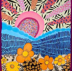 Orange Flowers and Pink Pretty Sun