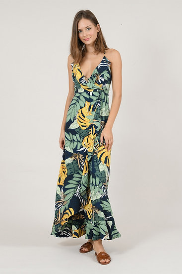 Asymetrical Ruffle Print Dress
