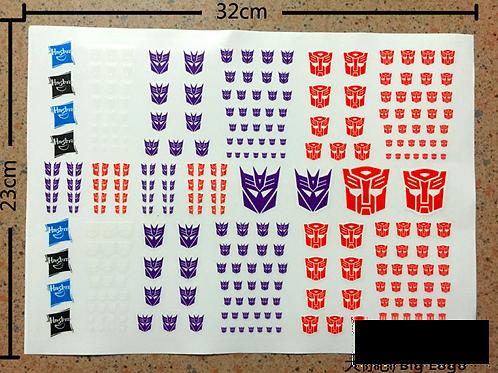 Transformers Dry Rub on logo stickers