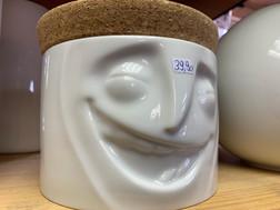 Dose mit Korkdeckel Gesicht