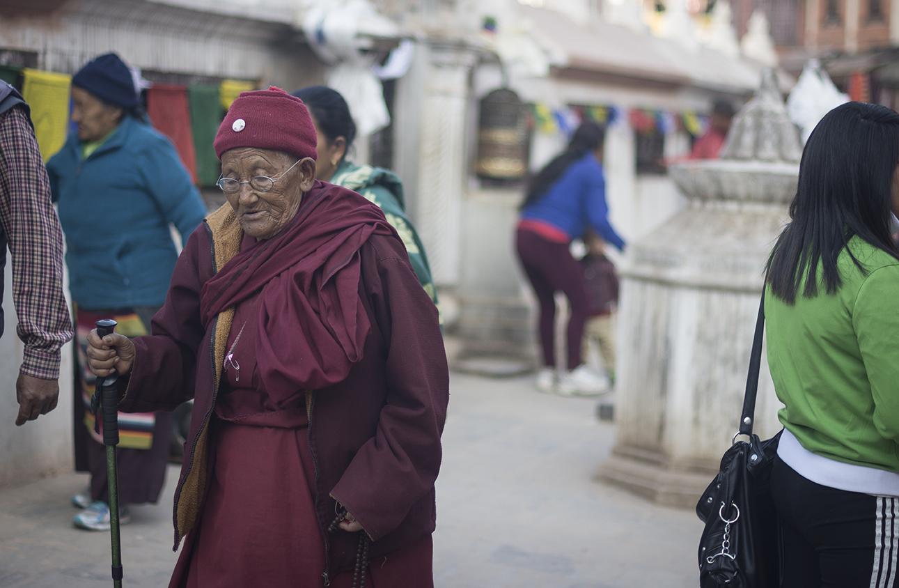 Monje budista en Boudanath