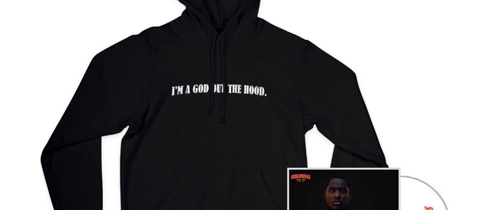 BUNDLE - I'M A GOD OUT THE HOOD (BLACK) HOODIE + AUTOGRAPHED EP