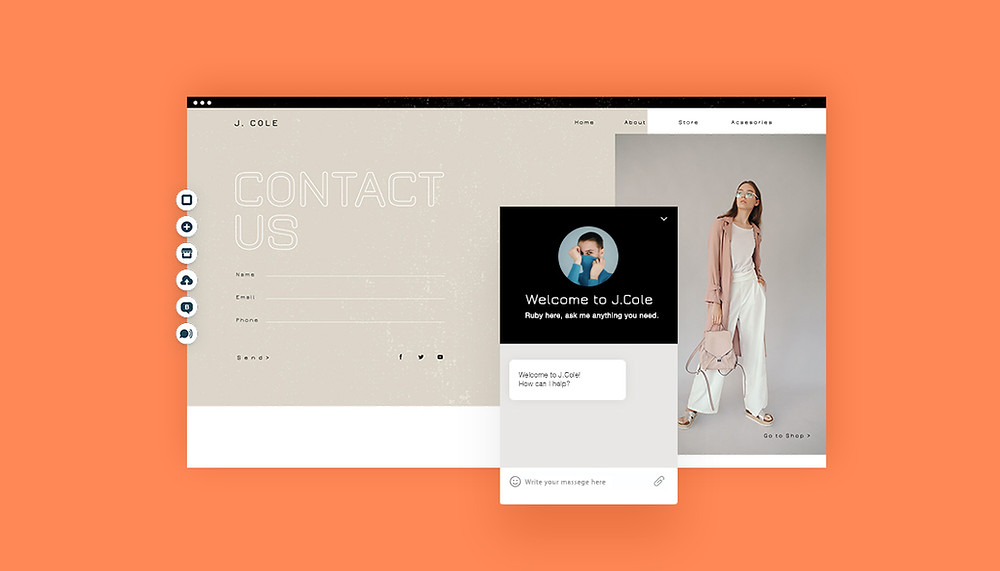 The contact form and chat box of a Fashion website