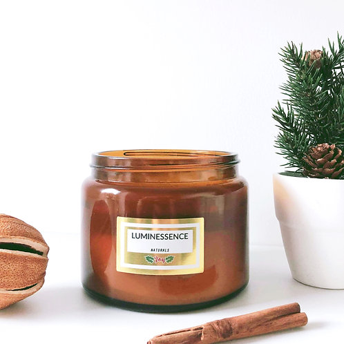 3 Wick~ Christmas Joy 100% Natural aromatherapy candle ~4 pure essential oils
