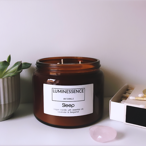 Sleep 3 Wick Vegan Candle  with 2 Pure & Clean essential oils to aid sleep