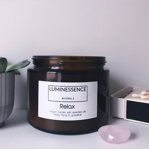 3 Wick Vegan Candle with 2 pure essential oils to help you Relax