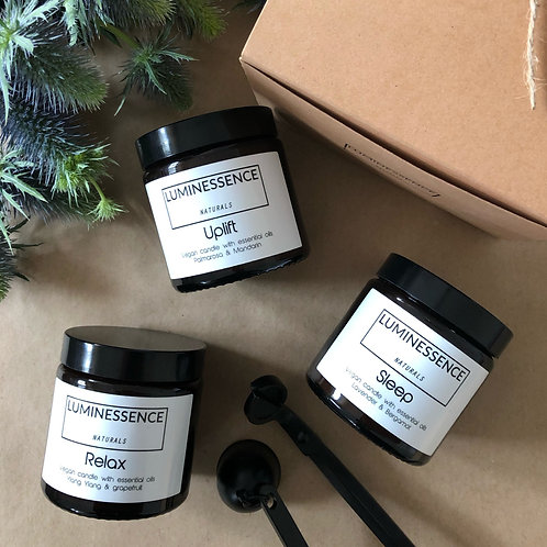 Trio of 100 % Pure & Natural Candles for Aromatherapy