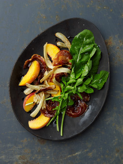 fennel, peach & pancetta salad