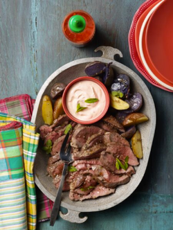 Leg of Lamb with Sriacha Mint Cream
