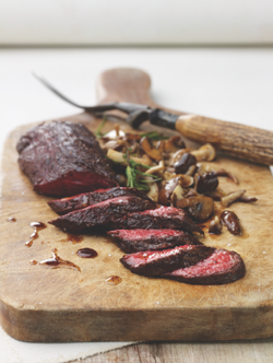 hanger steak & sautéed mushrooms