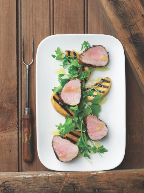 grilled pork & peaches
