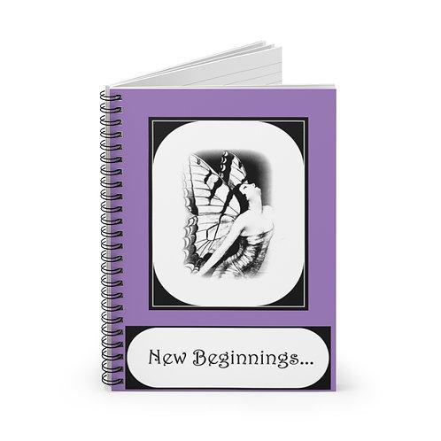 New Beginnings Journal Spiral Notebook Rebirth Renewal Art Deco Butterfly