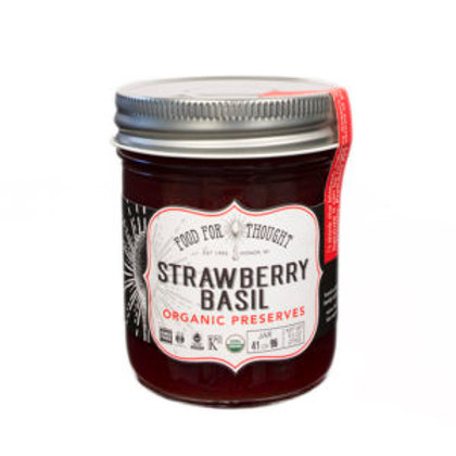 FOOD FOR THOUGHT STRAWBERRY BASIL PRESERVES (ORGANIC/FAIR TRADE)