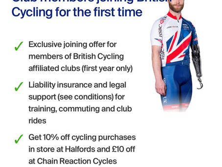 British Cycling offer for TCOS Members