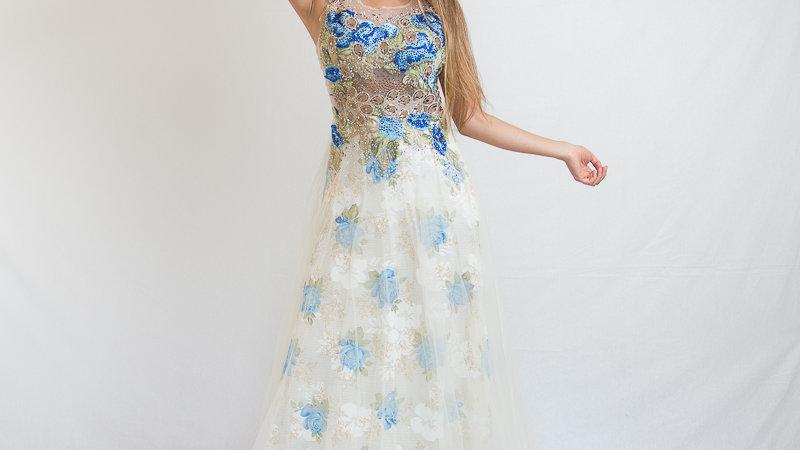 Vestido Gasa Estampado Flores
