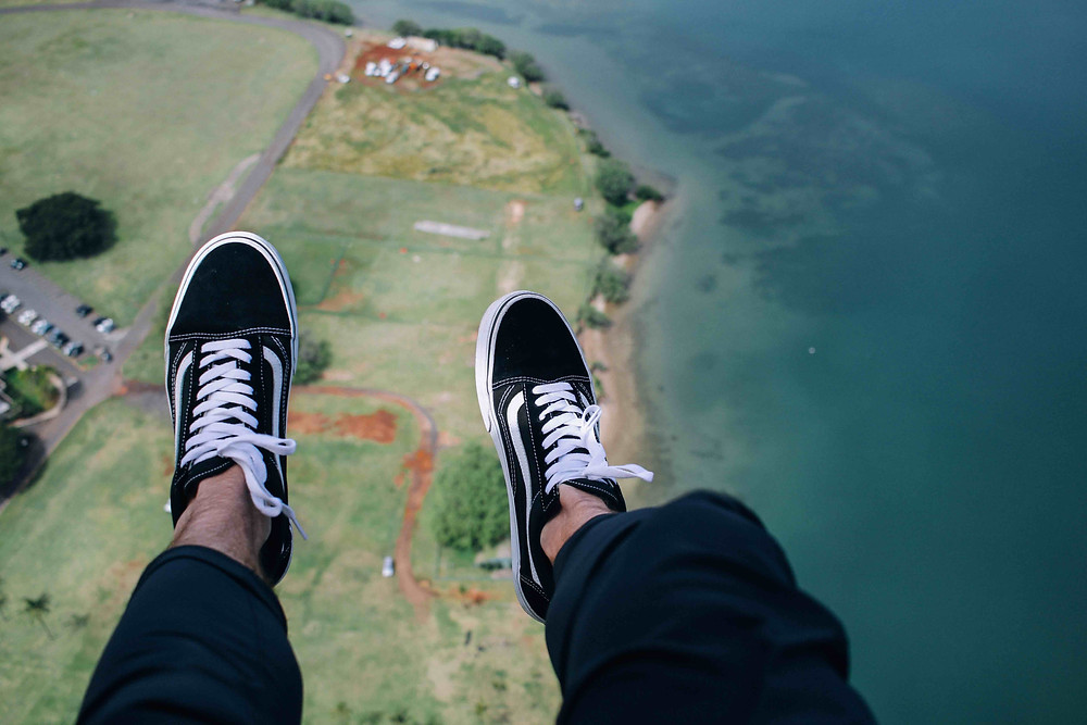 Skydiver's feet. It can be scary turning a business plan into reality