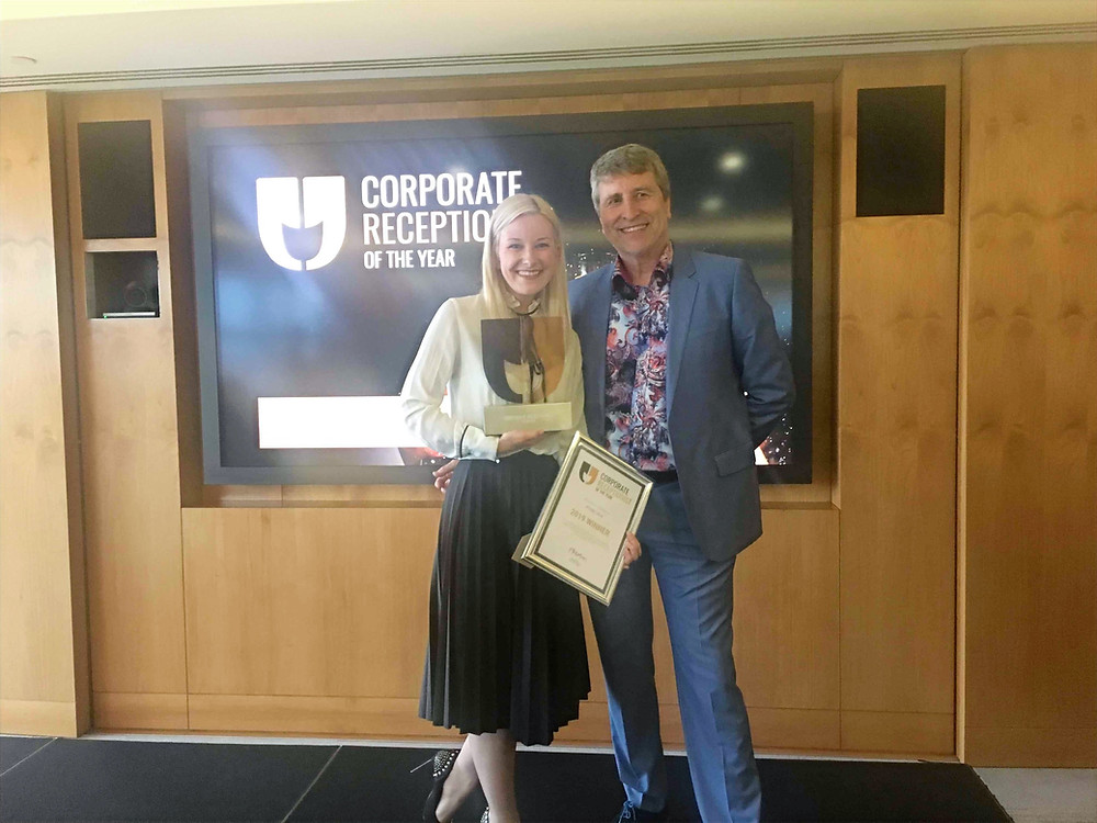 Craig Thatcher with Kitija Lace, Corporate Receptionist of the Year, 2019