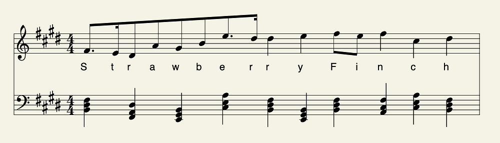 Musical stave with notes spelling out StrawberryFinch
