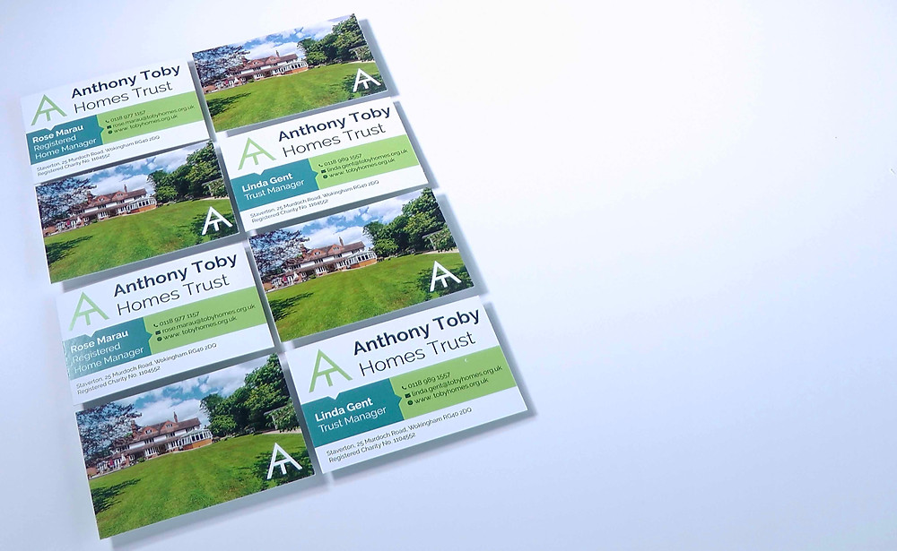 Design of new business cards for this Berkshire charity
