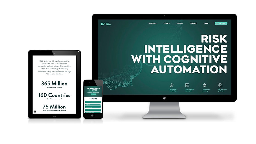 New value proposition brought to life with website design for RISC Vision viewed on a Mac