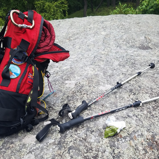 Hiking Pack, Poles, Cliff Bar. Check, check and check. Add water and it's time to hit the trail!
