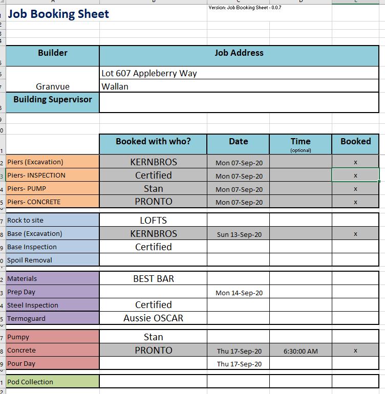 Job Booking Sheet