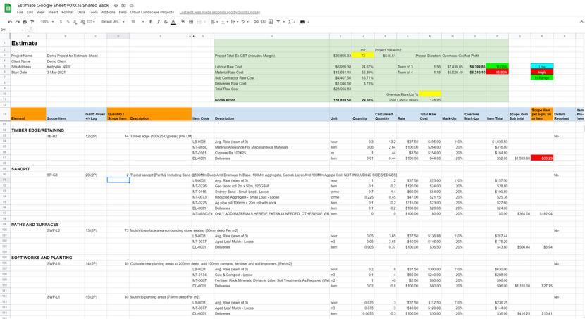 Job Costing Google Sheet Sample