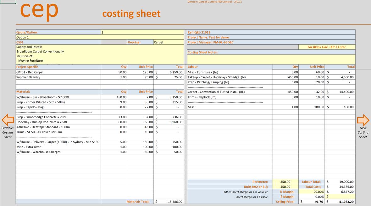 Job Management Costing Sheet